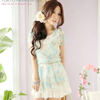 Buy Tokyo Fashion Short-Sleeve Floral Chiffon Wrap Dress 1022897955