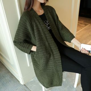 Ribbed Open Front Cable Knit Long Cardigan 1061462251