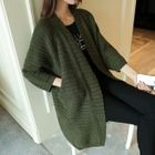 Ribbed Open Front Cable Knit Long Cardigan 1596