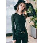 Long-Sleeve Round-Neck Slim-Fit T-Shirt 1596