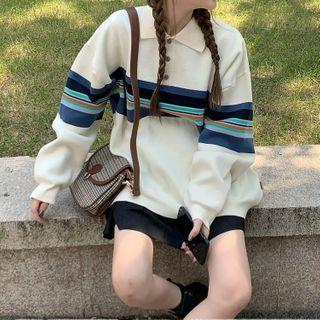 Striped Sweater Beige Almond - One Size