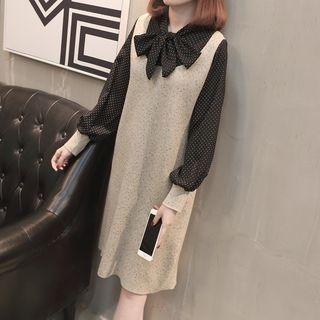 Set: Dotted Long-Sleeve Blouse + Sleeveless Dress 1064896517