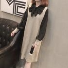 Set: Dotted Long-Sleeve Blouse + Sleeveless Dress 1596