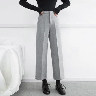 Wide-Leg Wool Ankle Pants