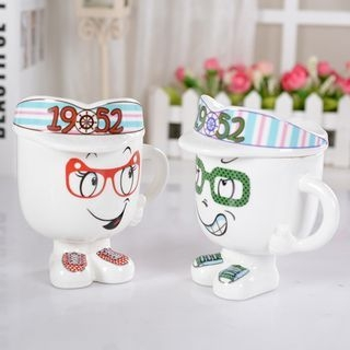 Cartoon Ceramic Cup with Lid 1056081472