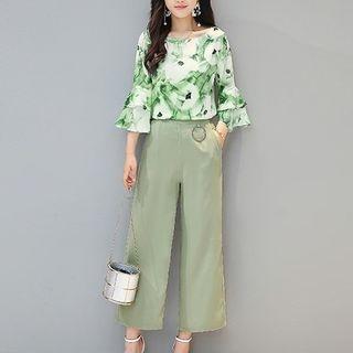 Set: Floral Print 3/4-Sleeve Top + Wide Leg Pants 1060144610