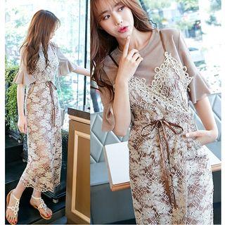 Set: Short-Sleeve T-Shirt Dress + Strappy Midi Lace Dress 1060405383