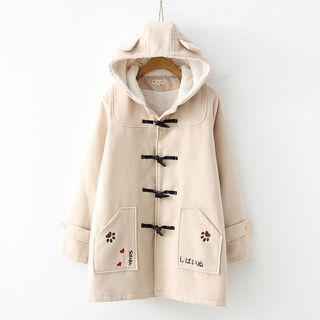 Image of Dog Paw Embroidered Hooded Duffle Coat