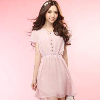 Buy Tokyo Fashion Short-Sleeve Buttoned Chiffon Dress 1022996741