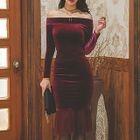 Velvet Off-Shoulder Long-Sleeve Bodycon Dress 1596