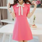 Sleeveless Frilled Trim Tie Neck Dress 1596