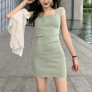 Image of Square-Neck Knitted Mini Sheath Tank Dress