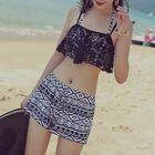 Set: Patterned Bikini + Lace Top + Shorts 1596