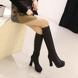 Chunky Heel Tall Boots