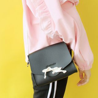 Bow Accent Faux Leather Crossbody Bag