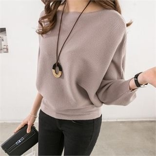 Boat-Neck Batwing-Sleeve Ribbed Knit Top 1064537286