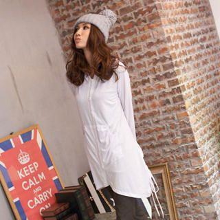 Printed Dip-Back Hooded Shirtdress 1032327601
