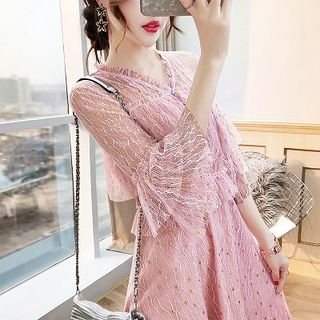 Rosewind Elbow-Sleeve Lace Dress