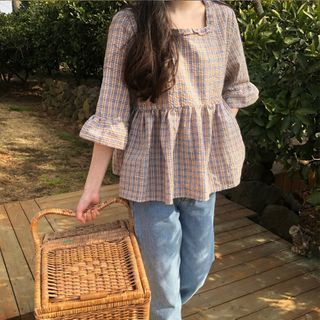 Image of Bell-Sleeve Square Neck Plaid Blouse Beige - One Size