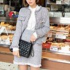 Fringed Tweed Mini Pencil Skirt 1596