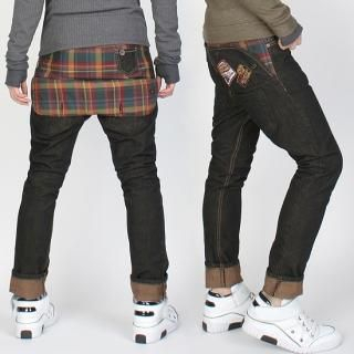 Buy Peeps Check Lined Hips Baggy Jeans 1022283214
