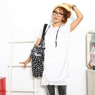 Picture of BBon-J Hooded Short Sleeve Dress 1023032289 (BBon-J Tees, Womens Tees, South Korea Tees, Causal Tops, Short Sleeve Shirts)