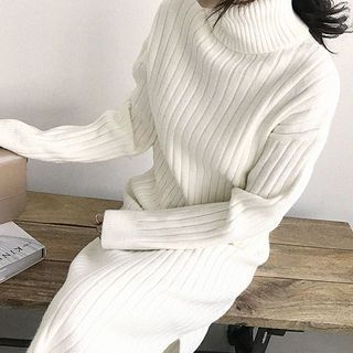 Turtle-Neck Ribbed Maxi Sweater Dress 1063698134