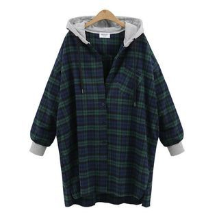 Hooded Long Plaid Shirt