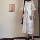 Set: Short-Sleeve A-Line Midi Dress + Strappy Dress 1596