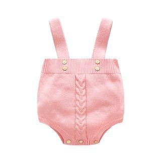 Baby Cable-Knit Suspender Bodysuit