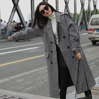 Houndstooth Double-Breasted Coat 1063329825