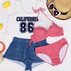 Set: Plaid Bikini + Crop Tank Top + Shorts 1596