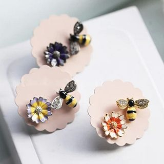 Image of Bee & Flower Non-Matching Earrings
