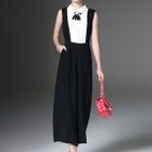 Sleeveless Color Block Wide Leg Jumpsuit 1596