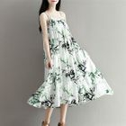 Strappy Floral Pleated A-line Midi Dress 1596