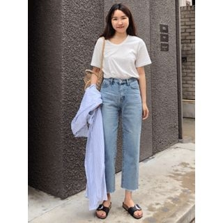 Washed Straight-Cut Jeans 1066875934