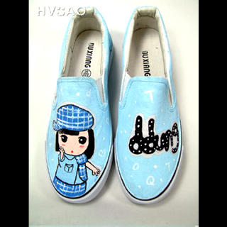 Picture of HVBAO Girl in Blue Slip-Ons 1021428479 (Slip-On Shoes, HVBAO Shoes, Taiwan Shoes, Womens Shoes, Womens Slip-On Shoes)