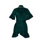 Short-Sleeve Ruffle Trim A-line Dress 1596
