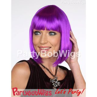 Deluxe | Purple | Party | Neon | Size | Bob | Wig | One