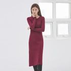 Round-Neck Ribbed Long Knit Dress 1596
