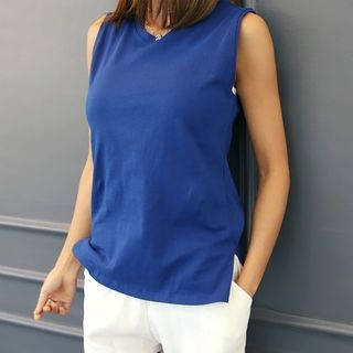 Round-Neck Sleeveless Top 1060340143