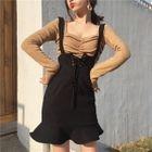 Ruffle Hem Suspender Skirt 1596