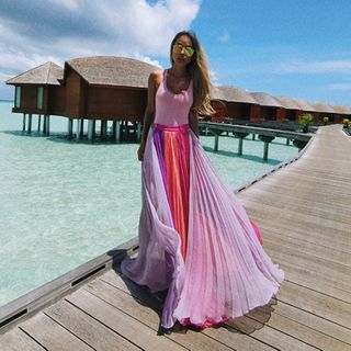 Image of Color Block Maxi Skirt