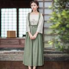 Embroidery Frilled Jumper Dress 1596