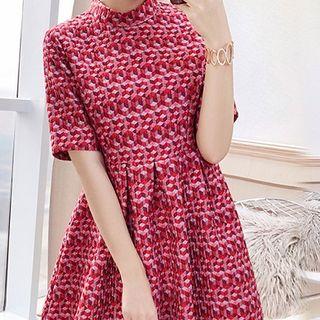 Rosewind Pattern Short-Sleeve A-Line Dress
