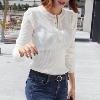 Ribbed Knit Henley 1053692752