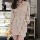 Long-Sleeve Tie-Waist Mini Sheath Dress 1596