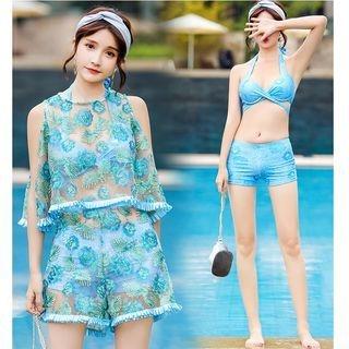 Set: Printed Bikini Top + Swim Shorts + Embroidered Cover-Up + Shorts 1064723515
