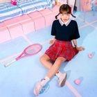 Pleated Plaid A-Line Mini Skirt 1596