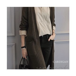 Open-Front Ribbed Long Cardigan 1062519711